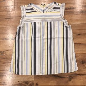 Loft Blue and Yellow Striped Sleeveless Blouse